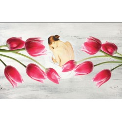 Photo wall Art painted girl with tulips