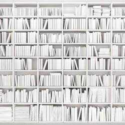 Wall murals art white books library