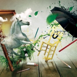 Wallpapers beautiful horse in a dynamic art composition