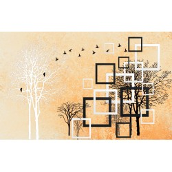 Wallpapers grafic 3D effect art composition with tree and coating 2 colours