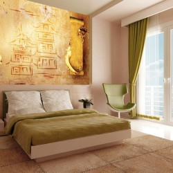 Wallpapers wall with hieroglyphics and dragons