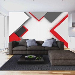 Wall murals geometric design wall in black and red