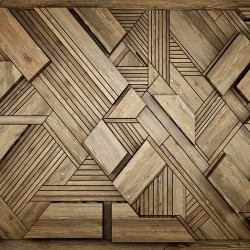 Wall murals geometric designer wall with wooden elements