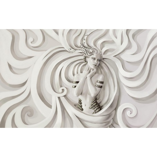 Wall murals female statue of a white wall bas-relief in 2 variants