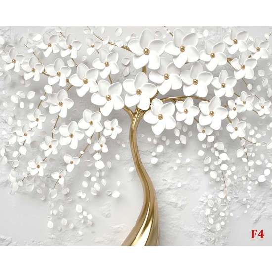 Photo murals 3D Art Tree with White Flowers 2 options