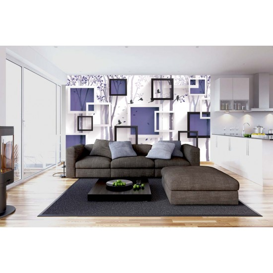 Photo wallpaper 3D Effect Wall Geometric Graphics art tree in 2 Colors