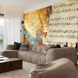 Wall mural vintage art panel with musical notes