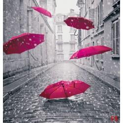 Wall murals art umbrellas in black and pink