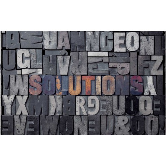 Wall murals art panel with concrete lettering in 3 colors