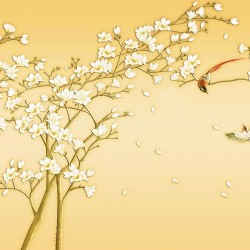 Photo murals Japanese twig with 3D flower effect in 2 colors