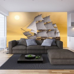 Wallpapers mural old sailing ship in yellow