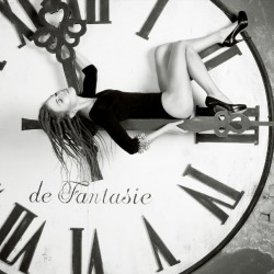 Wallpapers mural black-white round clock with a girl
