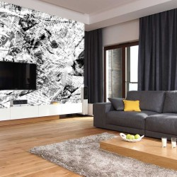Wall mural art panel old newspapers in grey