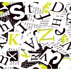 Wall murals art collage from lettering in 2 colors