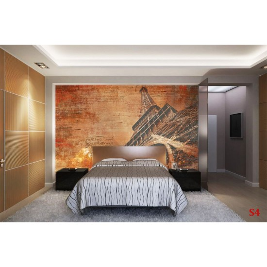 Wall mural art with inscriptions and the Eiffel Tower in orange