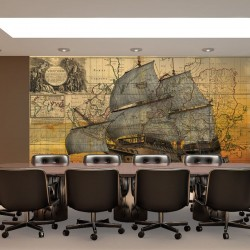 Wallpapers mural antique map with sailing ship
