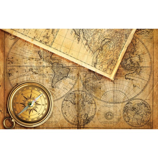 Photo mural ancient orange map with a compass model 2