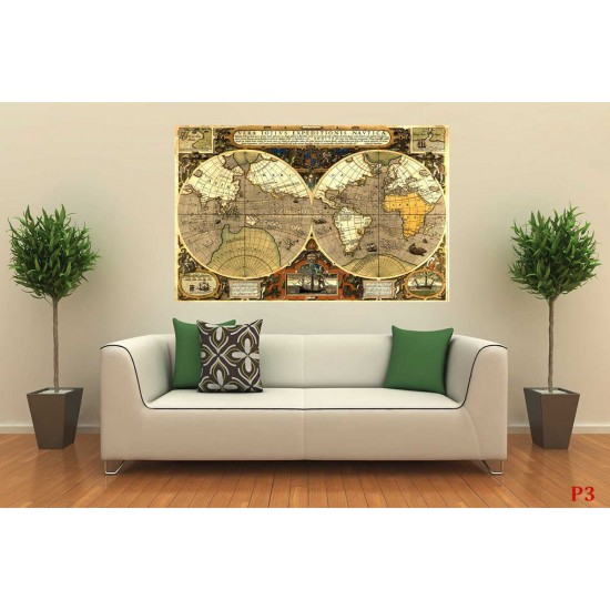 Photo mural a unique retro map world with elements in 2 colors