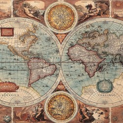 Wallpapers mural old world map in blue hue