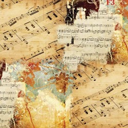 Wall murals vintage model with musical notes composition