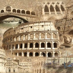 Wall murals vintage collage buildings Italy