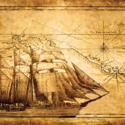 Wallpapers mural old sailing ship retro model 2