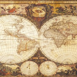Wallpapers mural old world map in a retro frame