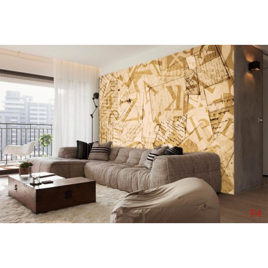 Photo mural art panel with lettering in beige