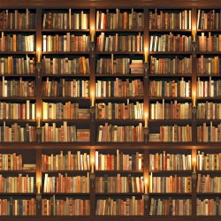 Wallpapers mural library with old books perfect reality