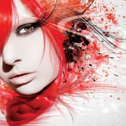 Wall mural art face in red and gray