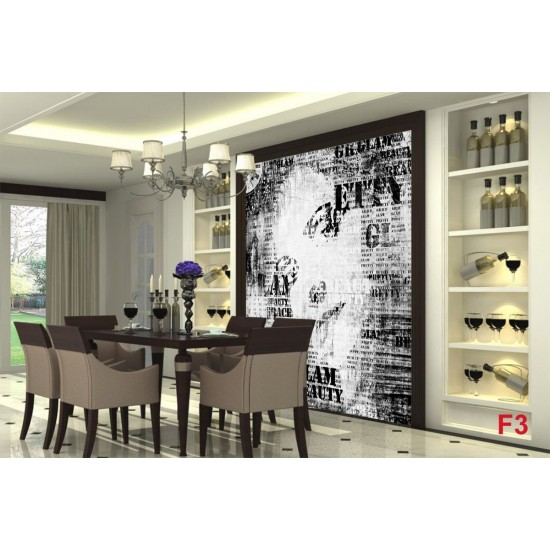 Wall mural art face with inscriptions in black and white