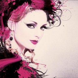 Wallpapers mural art face of a woman with feathers in 3 options