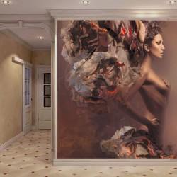 Wall mural art girl model in bronze