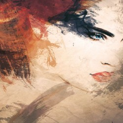 Wallpapers mural beautiful art face of a woman in 2 colors