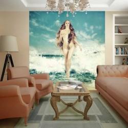 Wallpapers mural mermaid infront of sea waves in 2 colors