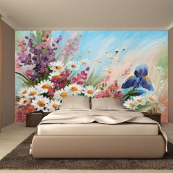 Photo mural soft bouquet of colorful flowers painted