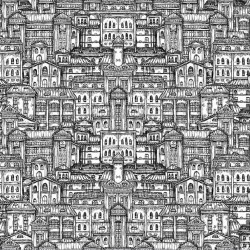 Wallpapers graphic old buildings in 2 colours