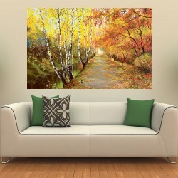 Wallpapers Autumn park alley with birch painted picture