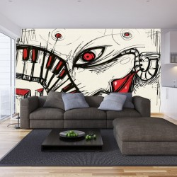 Wallpapers mural modern graphics in black and red pop art
