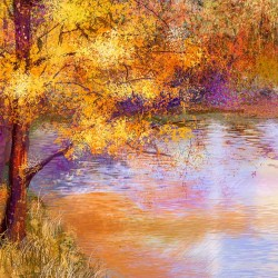 Wallpapers colorful painted picture of a tree by the lake
