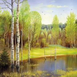 Wallpapers mural landscape picture birch tree and a lake