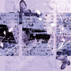 Wallpapers mural art with inscriptions and butterflies 2 variations