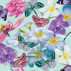 Wall murals colorful butterflies and flowers in 2 colors