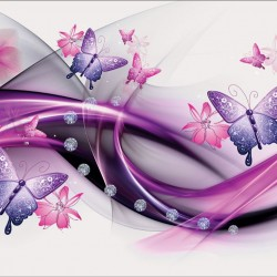 Wall murals abstraction with butterflies and diamonds in 2 colors