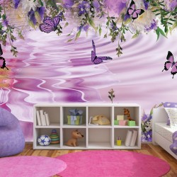Wall murals purple composition with flowers and butterflies
