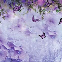 Wall murals designer purple mix of butterflies and hydrangeas