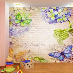 Wall mural in art vintage style with flowers and butterflies