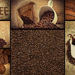 Photo mural collage of coffee and beans