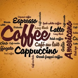Wall murals coffee lettering in orange nuance