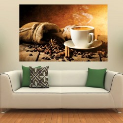 Photo mural coffee on grainy wall with a cup model 2